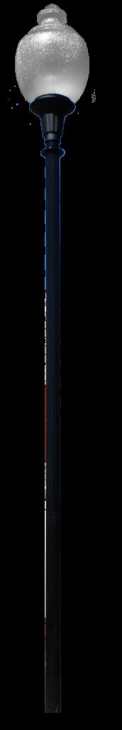 Fluted aluminum 3 in diameter pole.