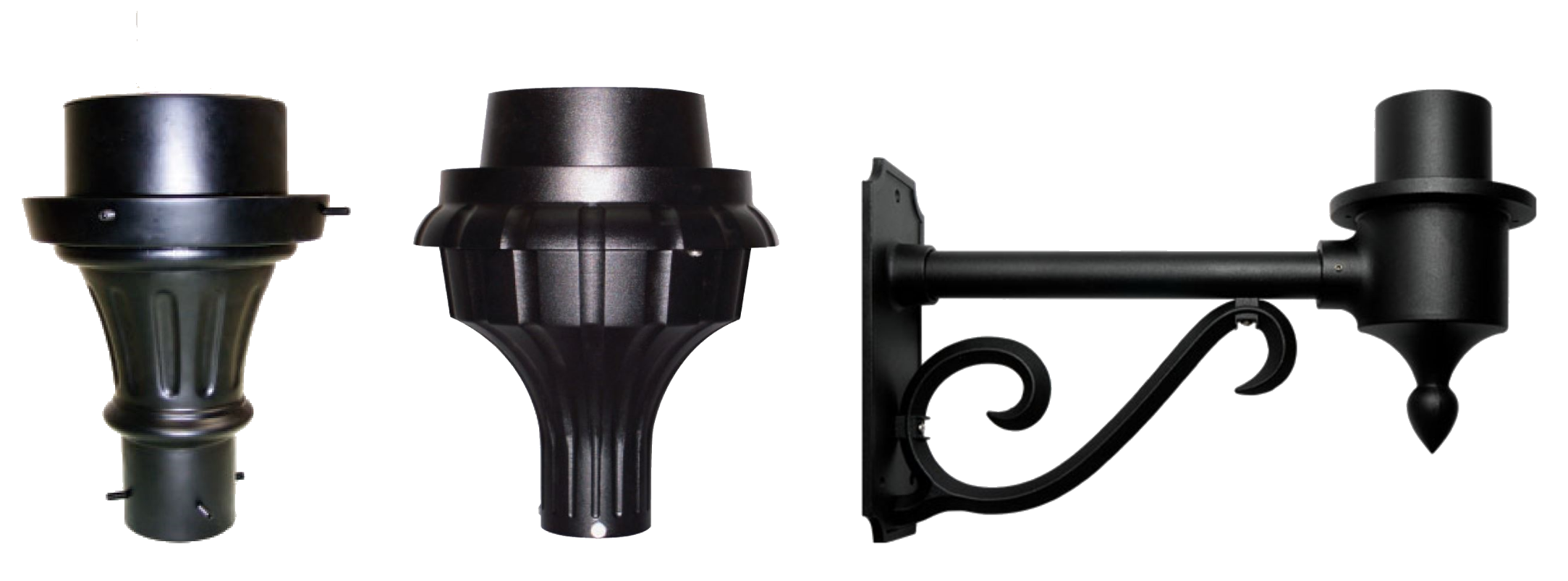 Different pole top fitter options and wall mount arm option.